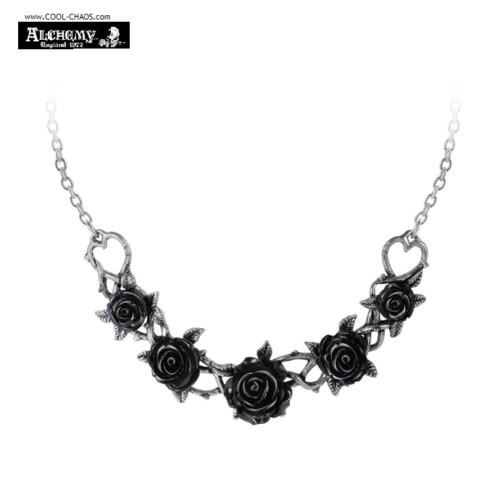 Black Roses Pewter Choker / Gothic Romance Rose Briar Pendant