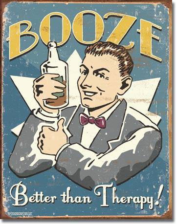 Schonberg Therapy Booze Tin Sign