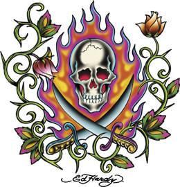 Ed Hardy Rose Pirate Skull Sticker