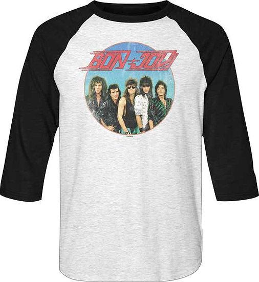 Bon Jovi T-Shirt / 80s Rock Bon Jovi Raglan Baseball Sleeves Tee