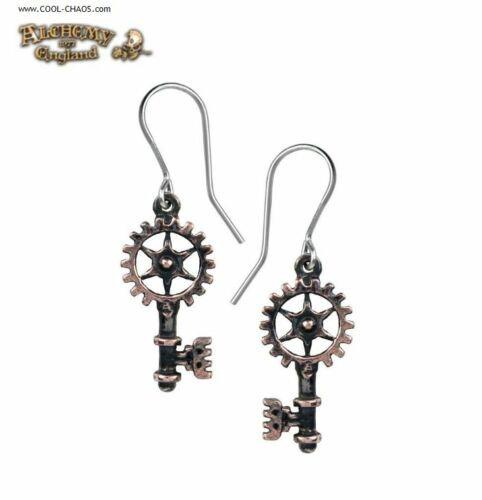Pewter Steampunk Key Earrings