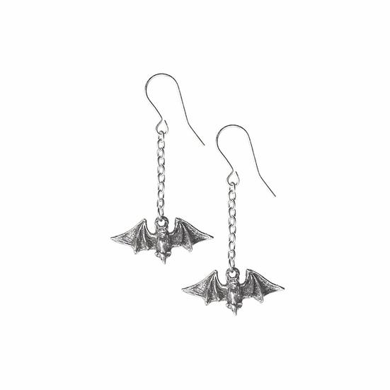 Kiss the Moon! Pewter Flying Bat Earrings
