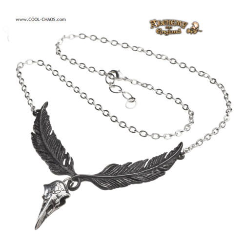 Pewter Raven Necklace - Tribal Crow Feathers, Raven Skull, Alchemy Gothic 1977
