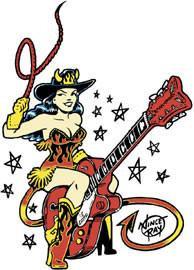 Retro Cowgirl Rockabilly Guitar Sticker