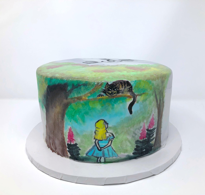 Alice in Wonderland Painted Cake