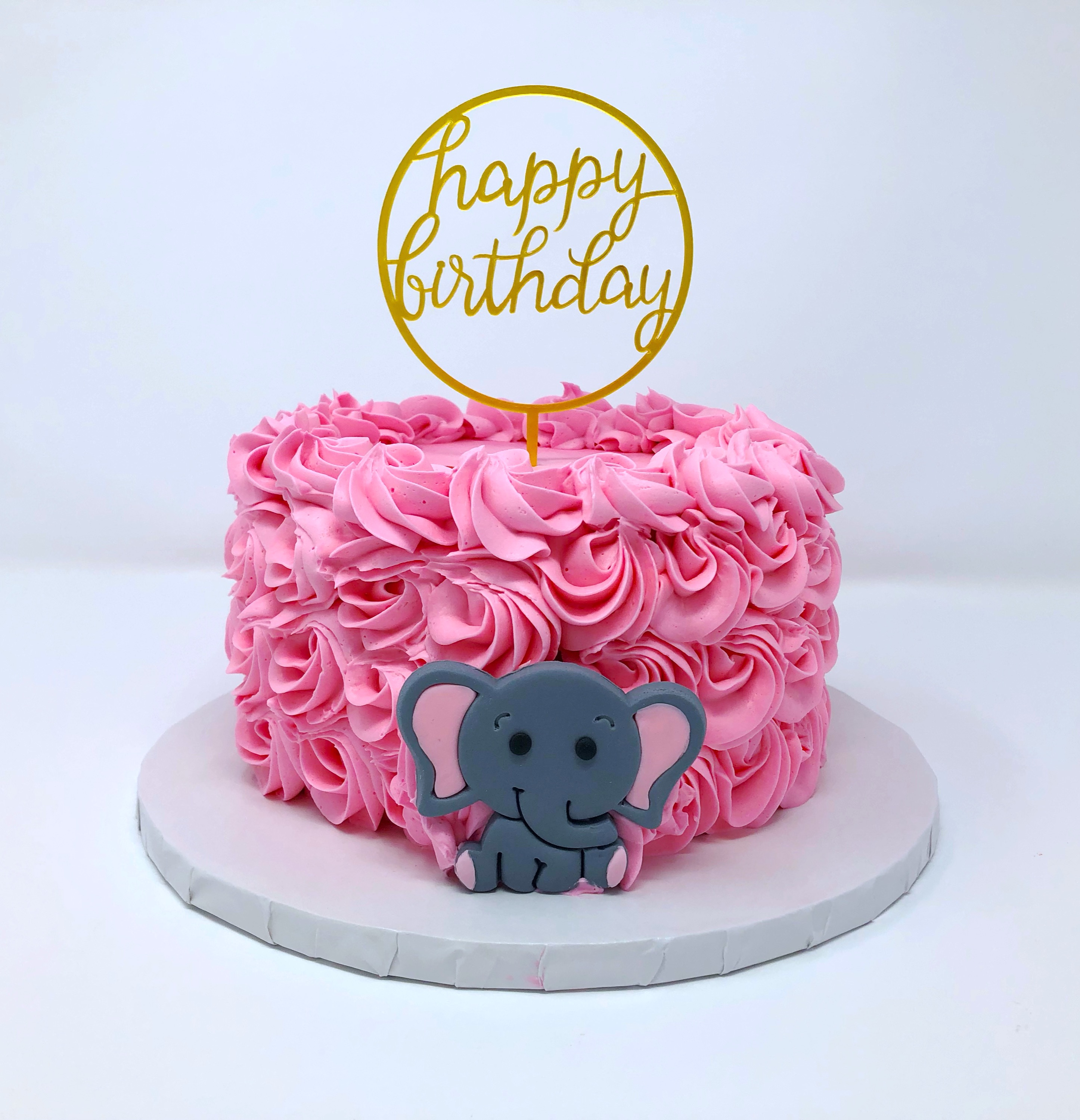 Pink Rosette and Baby Elephant Cake