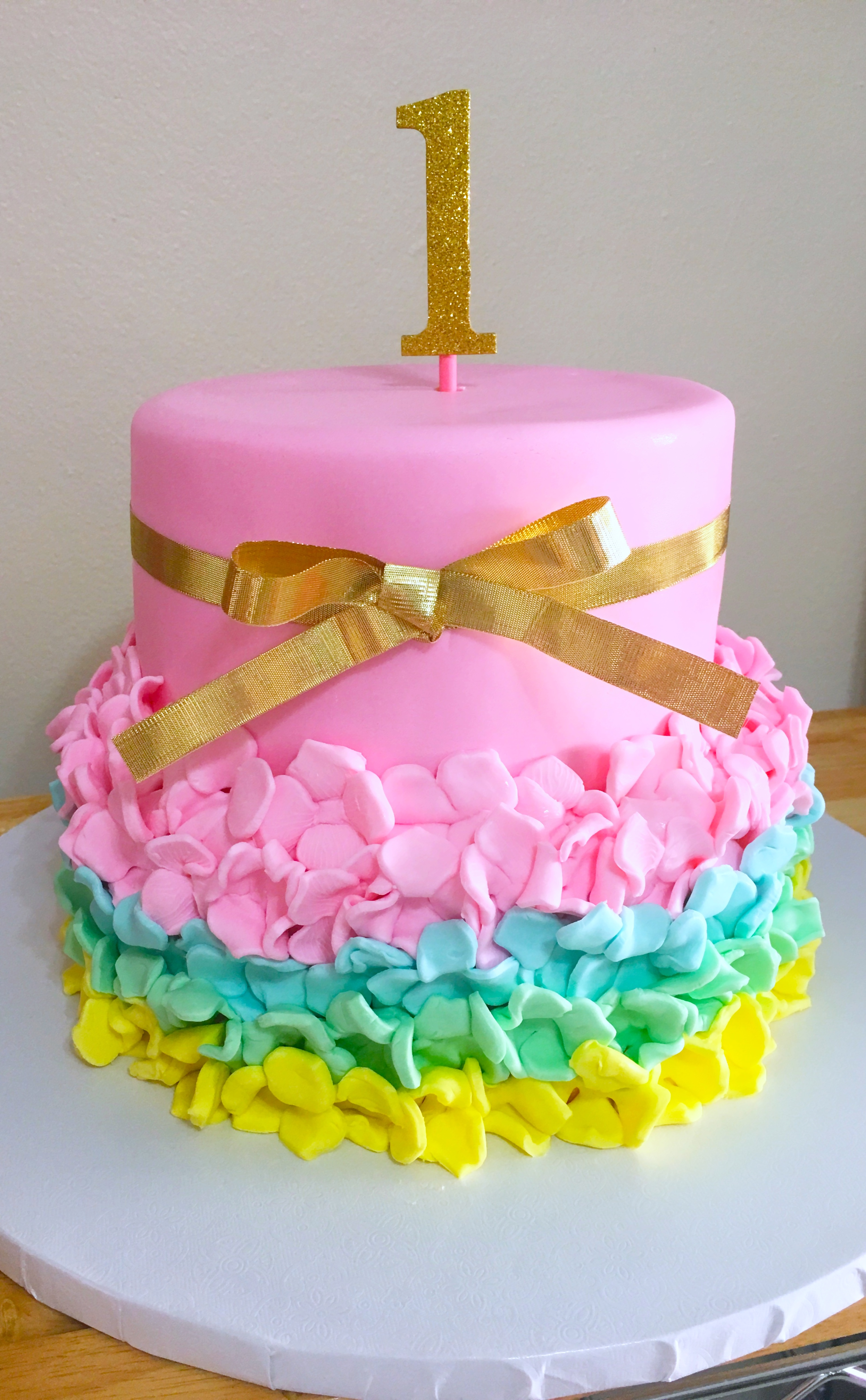 Rainbow Skirt First birthday cake
