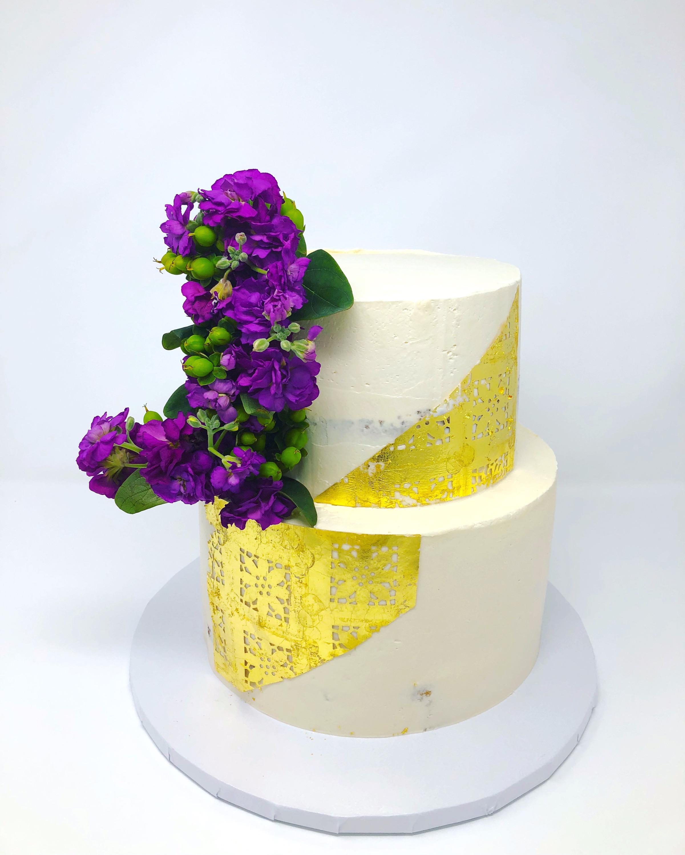 White, Gold, Purple Wedding Cake
