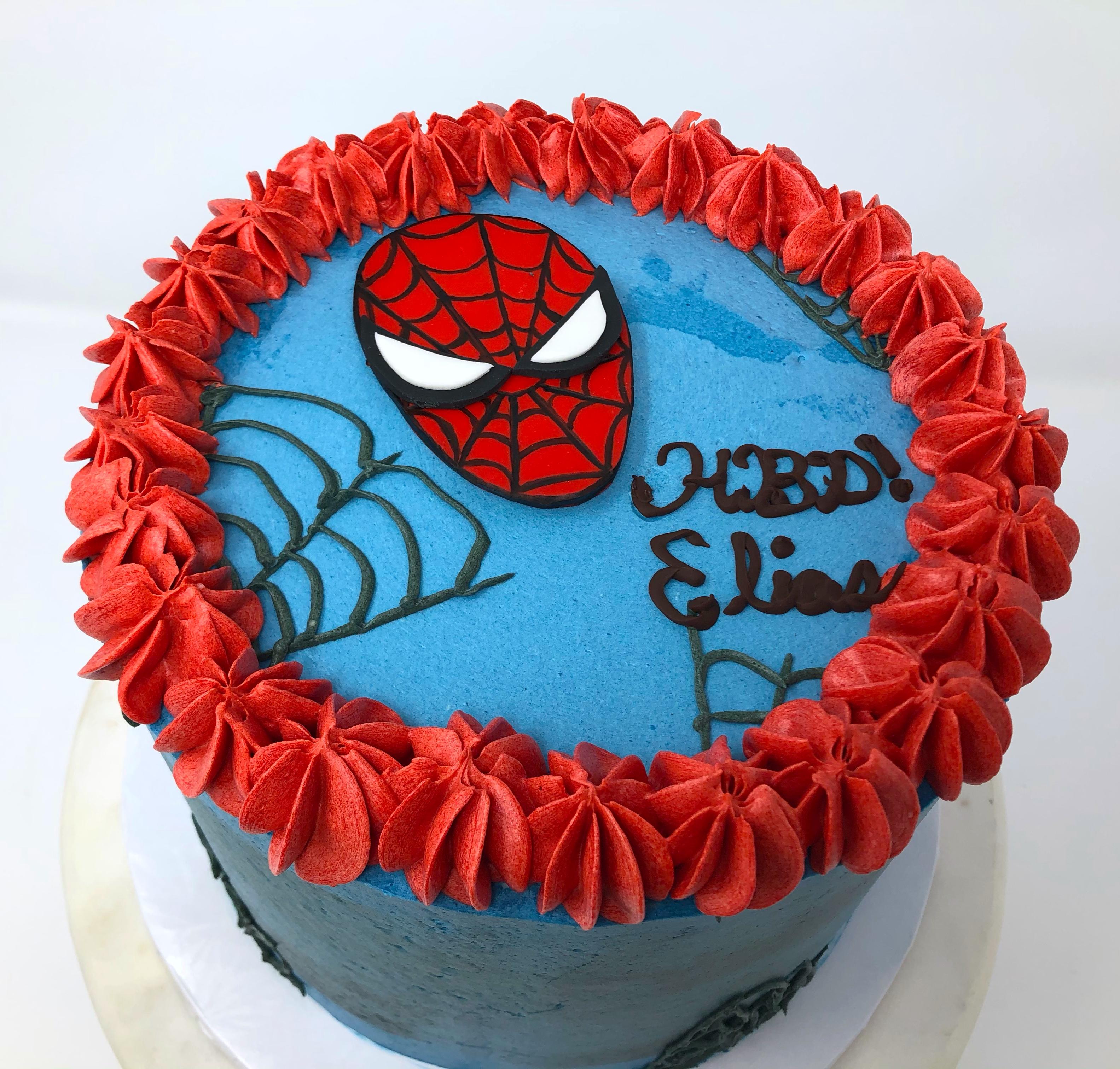 Strawberries N' Cream SpiderMan Cake