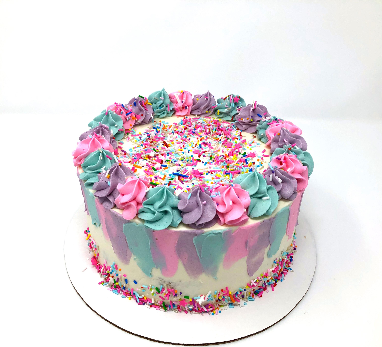 Rainbow Brushstroke Cake