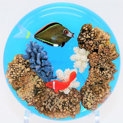 Gordon SmithFish and Coral Art Glass Aquarium Paperweight