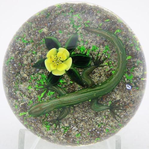 Delmo Tarsitano Green Lizard & Flower Art Glass Paperweight