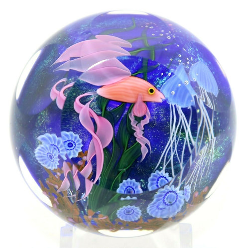 Lundberg Studio Vivid Iridescent Fish & Jellyfish Art Glass Paperweight