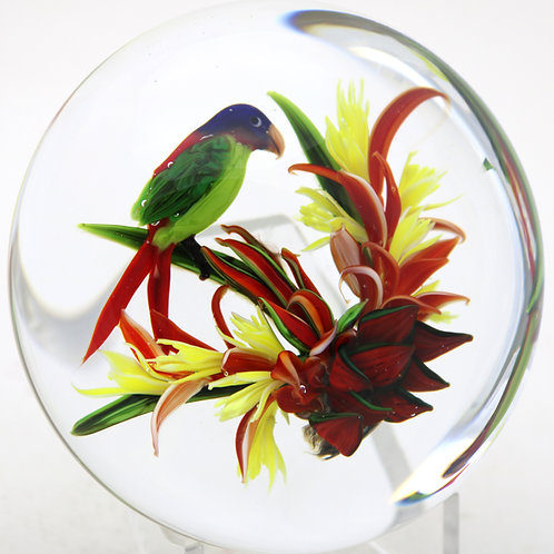 Rick Ayotte Exotic Tropical Parrot & Flower Art Glass Paperweight
