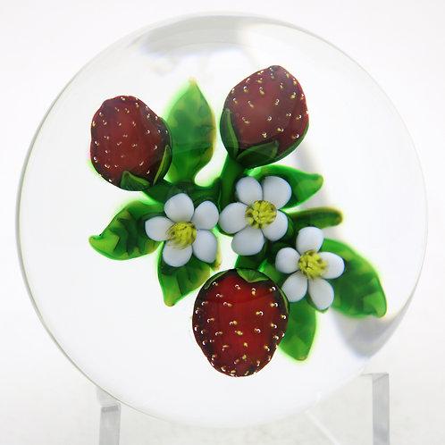 Delmo Tarsitano Ripe Strawberries & Blooms Art Glass Paperweight