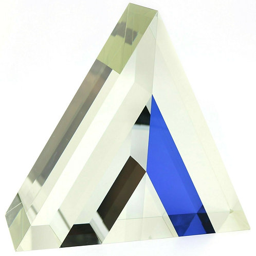 Large Jan Frydrych Mirrored Geometric Triangular Art Glass Sculpture