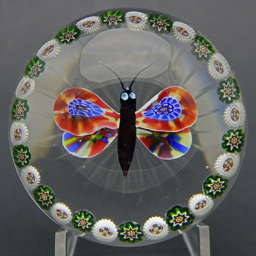 Antique Baccarat Butterfly & Millefiori Canes Garland Art Glass Paperweight
