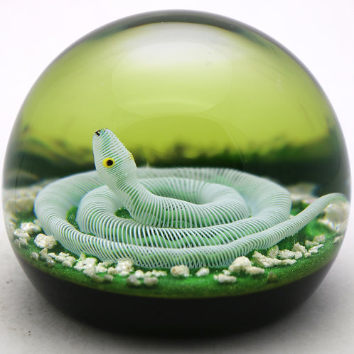 Paul Ysart Filigree Snake on Mossy Ground Art Glass Paperweight