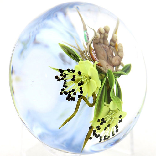 "Paul Stankard ""Fertile"" Flower Bouquet Art Glass Paperweight"