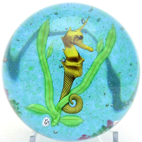 Baccarat Spiny Seahorse Aquarium Art Glass Paperweight