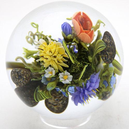 "Paul Stankard ""Walt Whitman"" Inspired Floral Garden Art Glass Marble Paperweight"