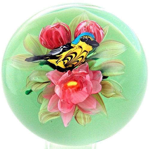 Rick Ayotte Warbler Bird & Magnolia Flowers Art Glass Paperweight