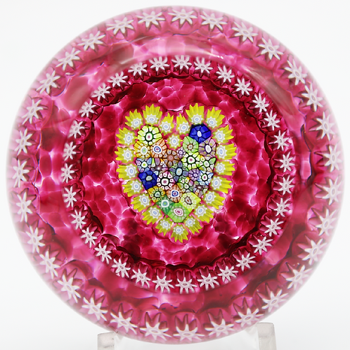 Perthshire Red Millefiori Canes Heart Art Glass Paperweight