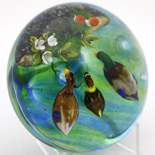 Rick Ayotte Colorful Ducks Trio & Pond Art Glass Paperweight