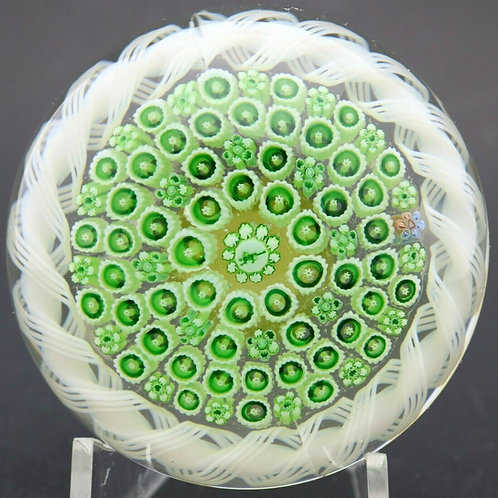 Parabelle Green Concentric Millefiori & Torsade Art Glass Paperweight
