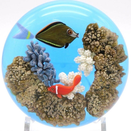 Gordon Smith Fish & Coral Reef Aquarium Art Glass Paperweight