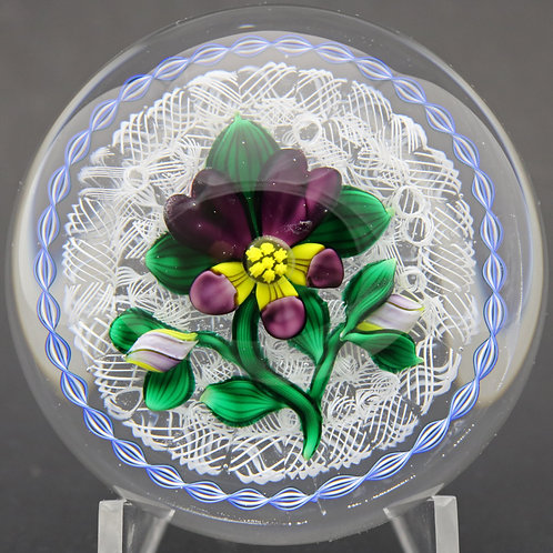 Bob Banford Vibrant Pansy Flower Over Latticino Art Glass Paperweight