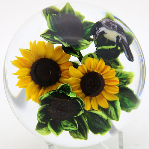 Rick Ayotte Sunflowers & Chickadee Bird Art Glass Paperweight