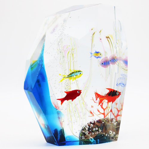 Modern Cut  Elio Raffaeli Murano Polygon Fish Aquarium Art Glass Sculpture