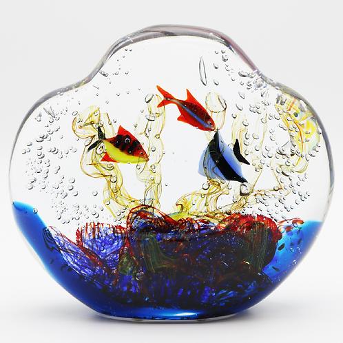 Large and Heavy Murano Aquarium Fish Art Glass Sculpture Signed