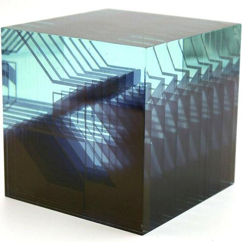 Ladislav Oliva Crystal Geometric Cube Art Glass Sculpture