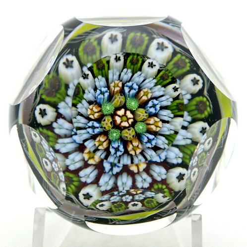 Parabelle Multifaceted Vibrant Millefiori Canes Art Glass Paperweight