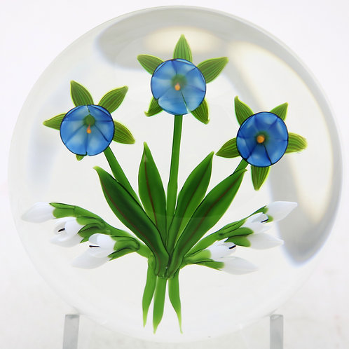 Chris Buzzini Bluebell Flower Bouquet Art Glass Paperweight