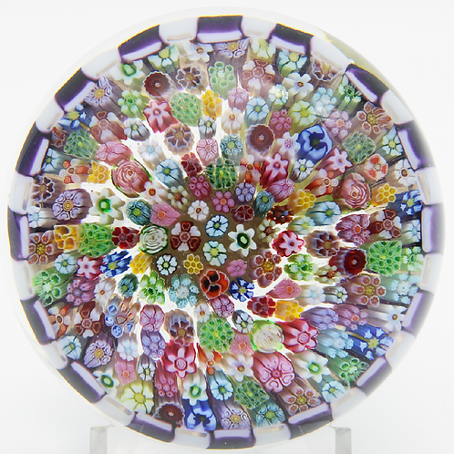 Parabelle Stave Basket Millefiori Canes Art Glass Paperweight