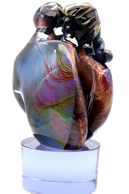 "Dino Rosin Calcedonia ""The Original Couple Kiss"" Art Glass Sculpture 18.5"""