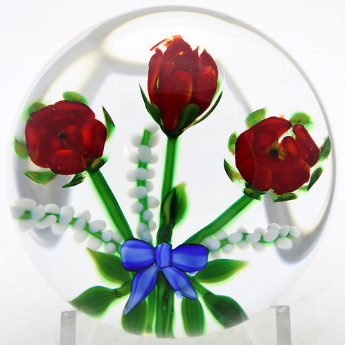Debbie Tarsitano Rose & Ribbon Bouquet Art Glass Paperweight