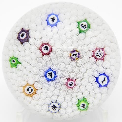 Baccarat Colourful Zodiac White Millefiori Cane Art Glass Paperweight