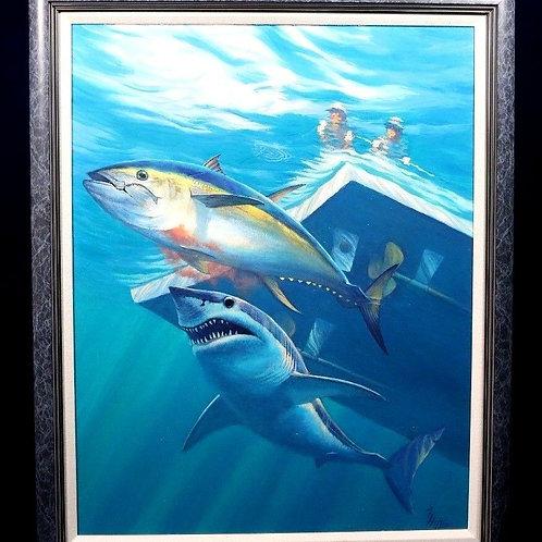 Michael Hoffman Oil on Board Hooked Tuna and Mako Shark Framed
