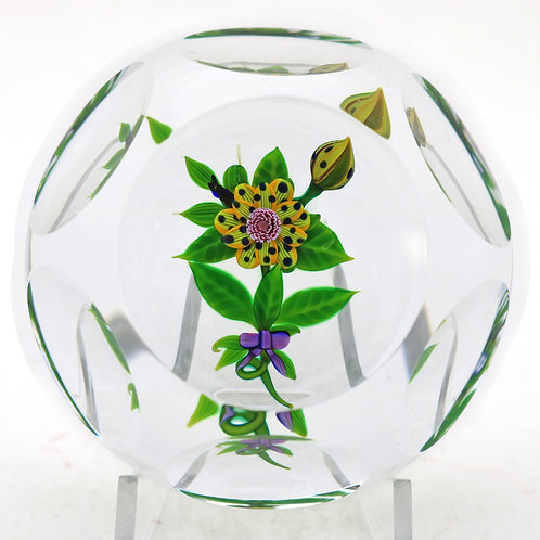 Large Debbie Tarsitano Multifaceted Floral Art Glass Paperweight