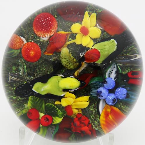 Magnum Rick Ayotte Colourful Birds & Mushrooms Art Glass Paperweight