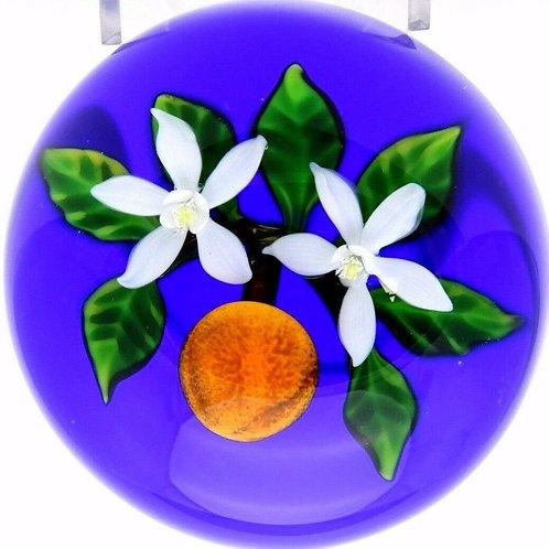 Delmo Tarsitano Orange & Blossoms Art Glass Paperweight