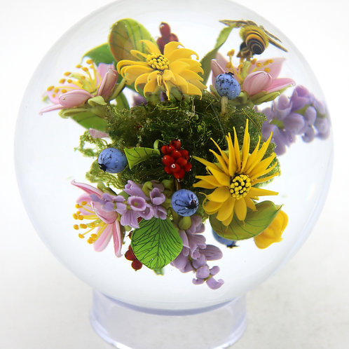 Paul Stankard Floral Honeybee Garden Art Glass Marble