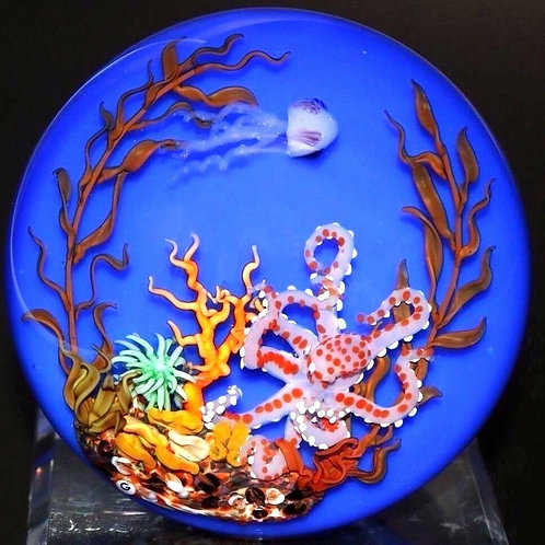 Randy Grubb Colorful Octopus Aquarium Art Glass Paperweight