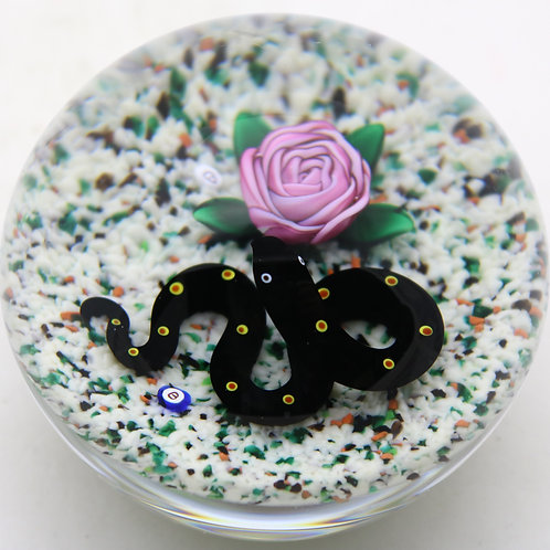 Collaborative Ray & Bob Banford Snake & Rose Art Glass Paperweight