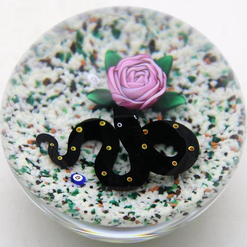 Collaborative Ray & Bob Banford Snake & Rose Art Glass Paperweight