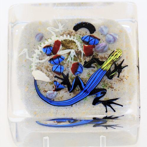 Jim D'Onofrio Colourful Salamander Art Glass Paperweight Block